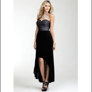 BEBE High-Low Formal Dress Black and Silver